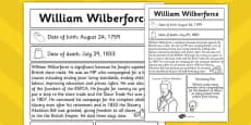 William Wilberforce Significant Individual Fact Sheet