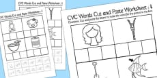 CVC Words Cut and Paste Activity Sheets i with British Sign Language