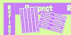 Respect, Responsibility, Reflection, Resilience Key Values Display Borders