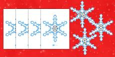 Numbers 0-31 on Snowflakes