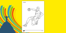 Rio 2016 Olympics Handball Colouring Sheets