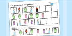 Cinderella Complete the pattern Activity Sheets