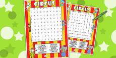 Circus Differentiated Wordsearch