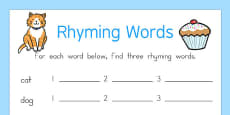 Rhyming Words Activity Sheet