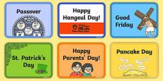 Calendar Celebration Day Flashcards