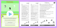Using Commas PowerPoint Differentiated Lesson Teaching Pack