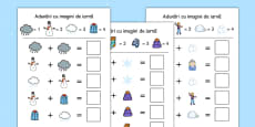Winter Themed Addition with Pictures Activity Sheets Romanian