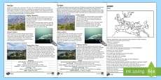 Europe Natural Features Reading Differentiated Comprehension Activity English/Romanian