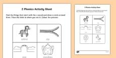 z Phonics Activity Sheet