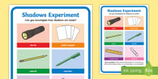 * NEW * Science Light and Shadows Investigation Prompt Display Poster