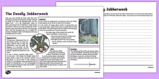 The Deadly Jabberwock Non-Chronological Report Activity Sheet