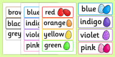 Colour Words on Easter Eggs Words Cards