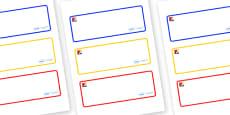 Mondrian Themed Editable Drawer-Peg-Name Labels (Blank)