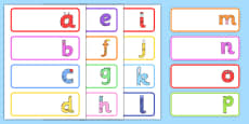 Lower-Case Monster Alphabet Drawer Peg Name Labels