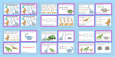 Dinosaur Themed KS1 Maths Challenge Cards