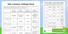 Roll a Summer Holidays Story Storyboard Template English/Italian