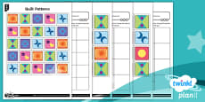 PlanIt Y2 Position and Direction Pattern and Sequence Quilt Patterns Differentiated Home Learning Tasks