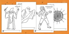 Halloween Colouring Pictures Arabic Translation