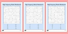 High Frequency Words Wordsearch