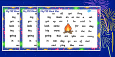 Bonfire Night Firework Themed FS2 Word Mat