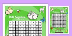 Spring Theme 100 Square Arabic Translation