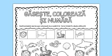 Under the Sea Find Colour and Count Activity Sheet Romanian