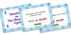 Menstrual Cycle True or False PowerPoint