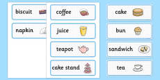 Afternoon Tea Role Play Labels