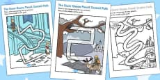 The Snow Queen Pencil Control Path Activity Sheets