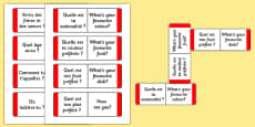 Basic Questions Matching Card Game French