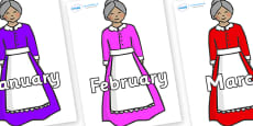 Months of the Year on Old Mother Hubbard