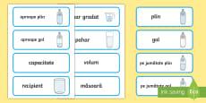 * NEW * Vocabular despre capacitate Cartonașe cu cuvinte