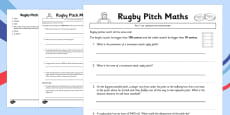 Rugby Pitch Maths Activity Sheet