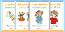 Sun Safety Posters Spanish