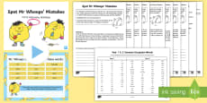 * NEW * Spot Mr Whoops Mistakes Y1Y2 Common Exception Words Spelling Pack