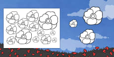 Cut-out and Colour-in Poppies