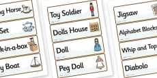 Victorian Toy Shop Role Play Labels