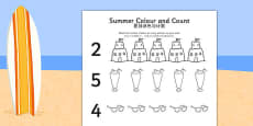 Summer Themed Count and Colour Sheet Chinese Mandarin Translation