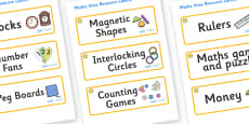 Sunshine Themed Editable Maths Area Resource Labels