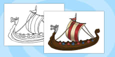 A4 Viking Ship Cut Out KS2