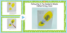 Following In My Daddy's Shoes Father's Day Card Instructions PowerPoint