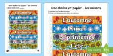 Travaux manuels : Une chaîne en papier - Les saisons