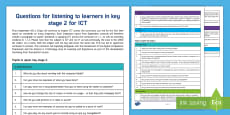 * NEW * Questions for ICT in KS2 from ESTYN Display Poster