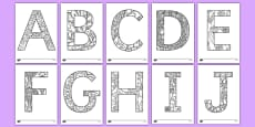 Adult Colouring Mindfulness Uppercase Alphabet Pattern Themed Sheets