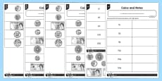 * NEW * Recognising Coins and Notes Differentiated Activity Sheets