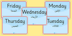 Days of the Week Signs Arabic Translation