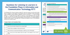 * NEW * Questions for ICT in Foundation Phase from ESTYN A4 Display Poster