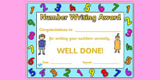 Number Writing Award Certificate