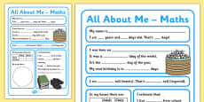 All About Me Maths Display Poster Activity Sheet Year 5-6