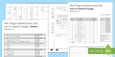* NEW * AQA (Trilogy) Unit 5.4 Chemical Changes Test